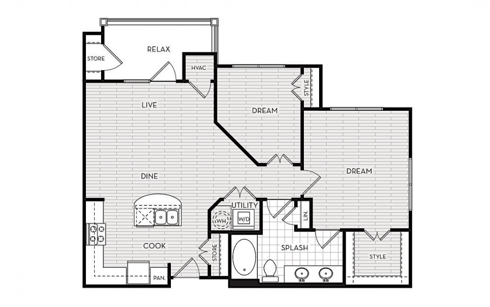 B1 - 2 bedroom floorplan layout with 1 bath and 902 square feet.