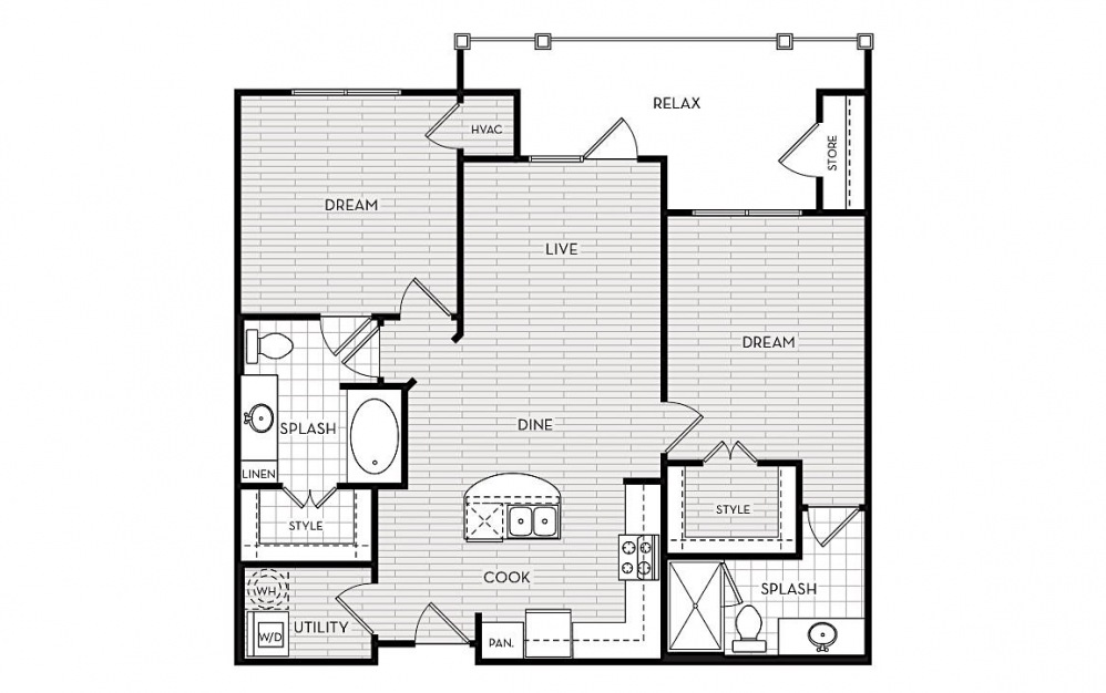 B2 - 2 bedroom floorplan layout with 2 baths and 1014 square feet.
